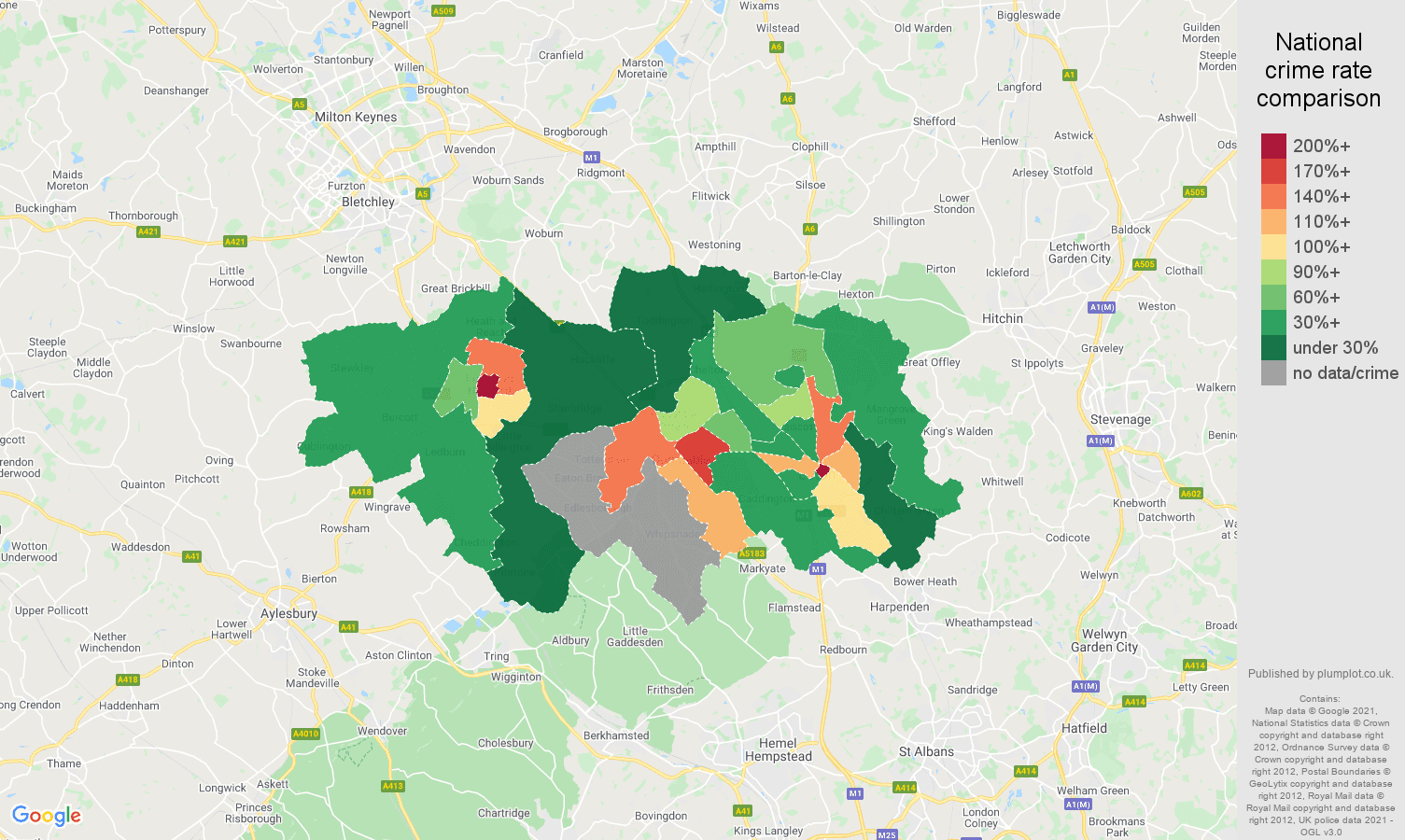 Luton bicycle theft crime rate comparison map