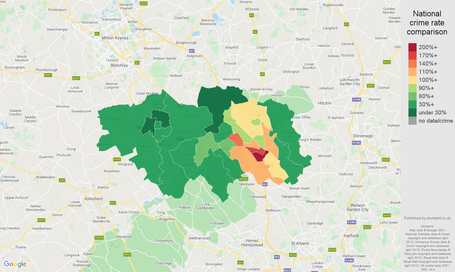 Luton drugs crime rate comparison map