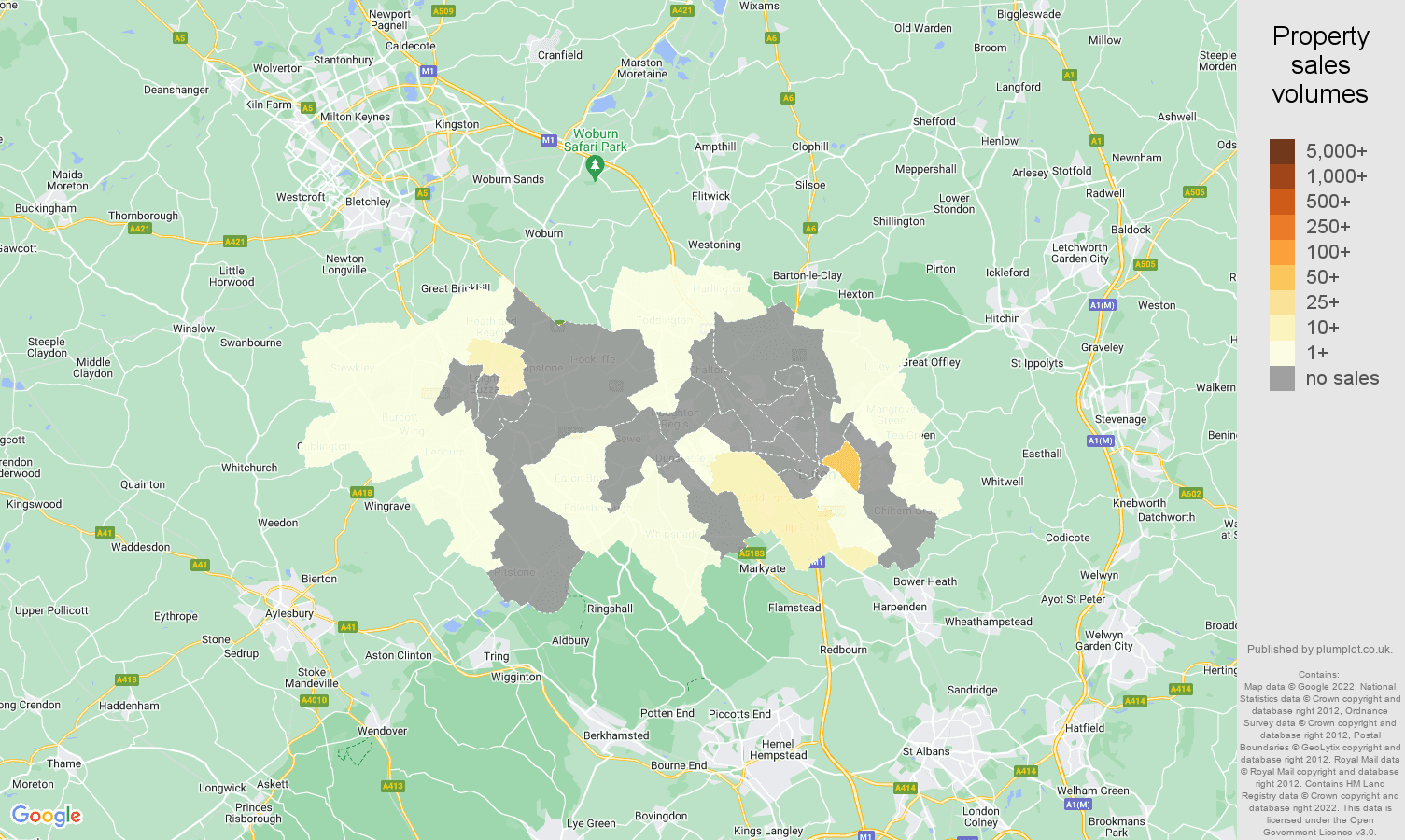 Luton map of sales of new properties