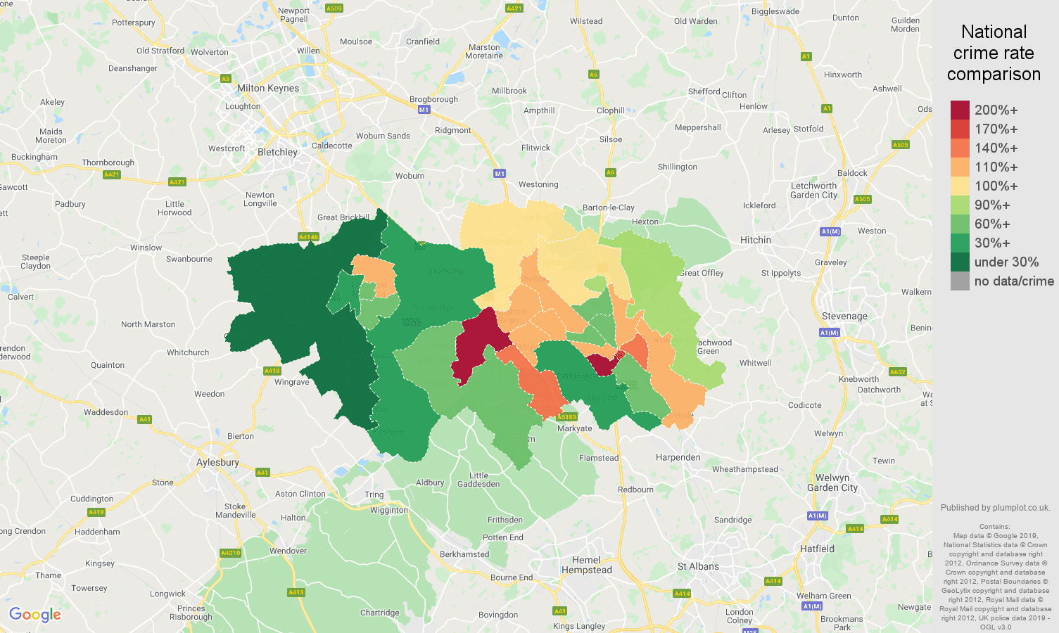 Luton other crime rate comparison map