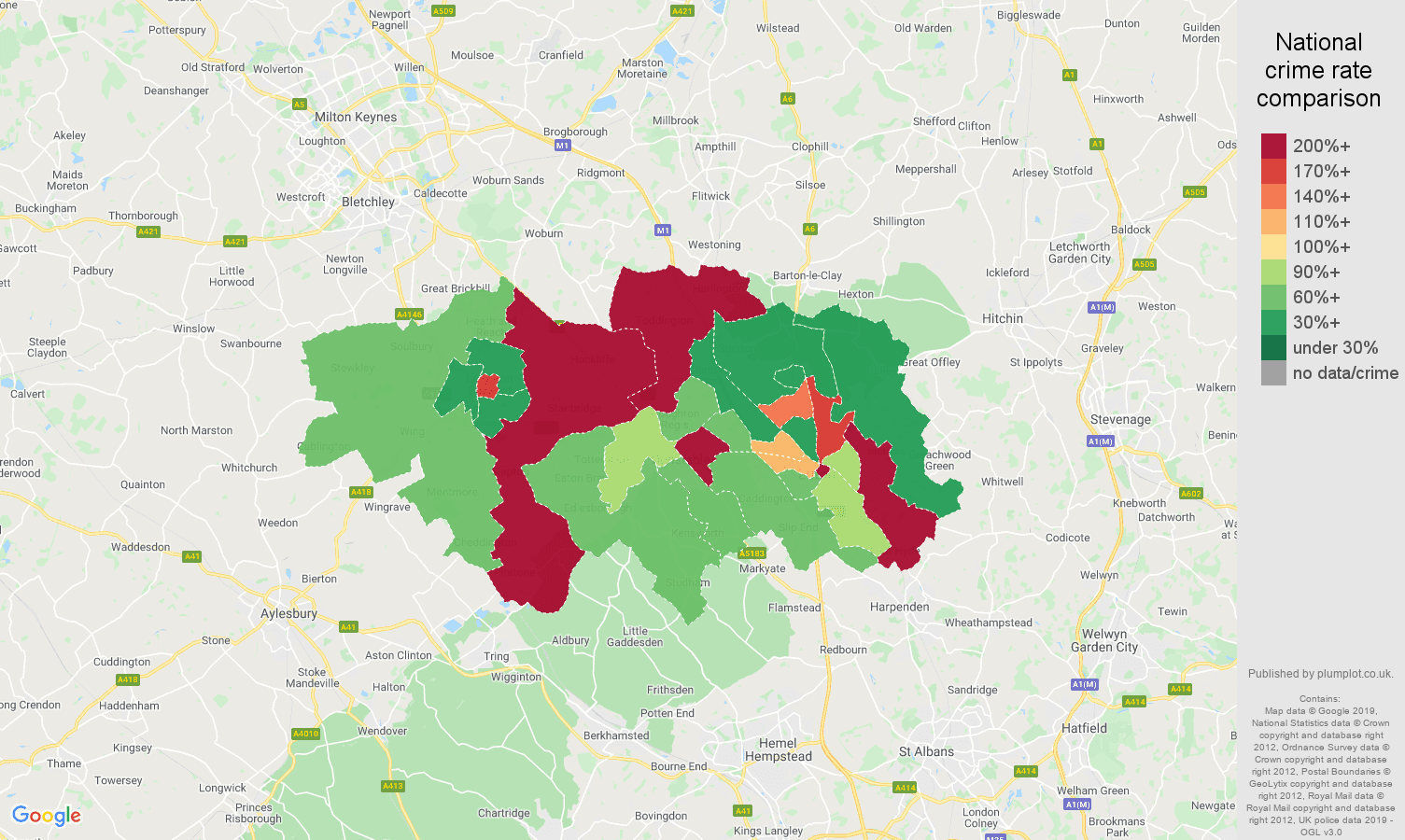 Luton other theft crime rate comparison map