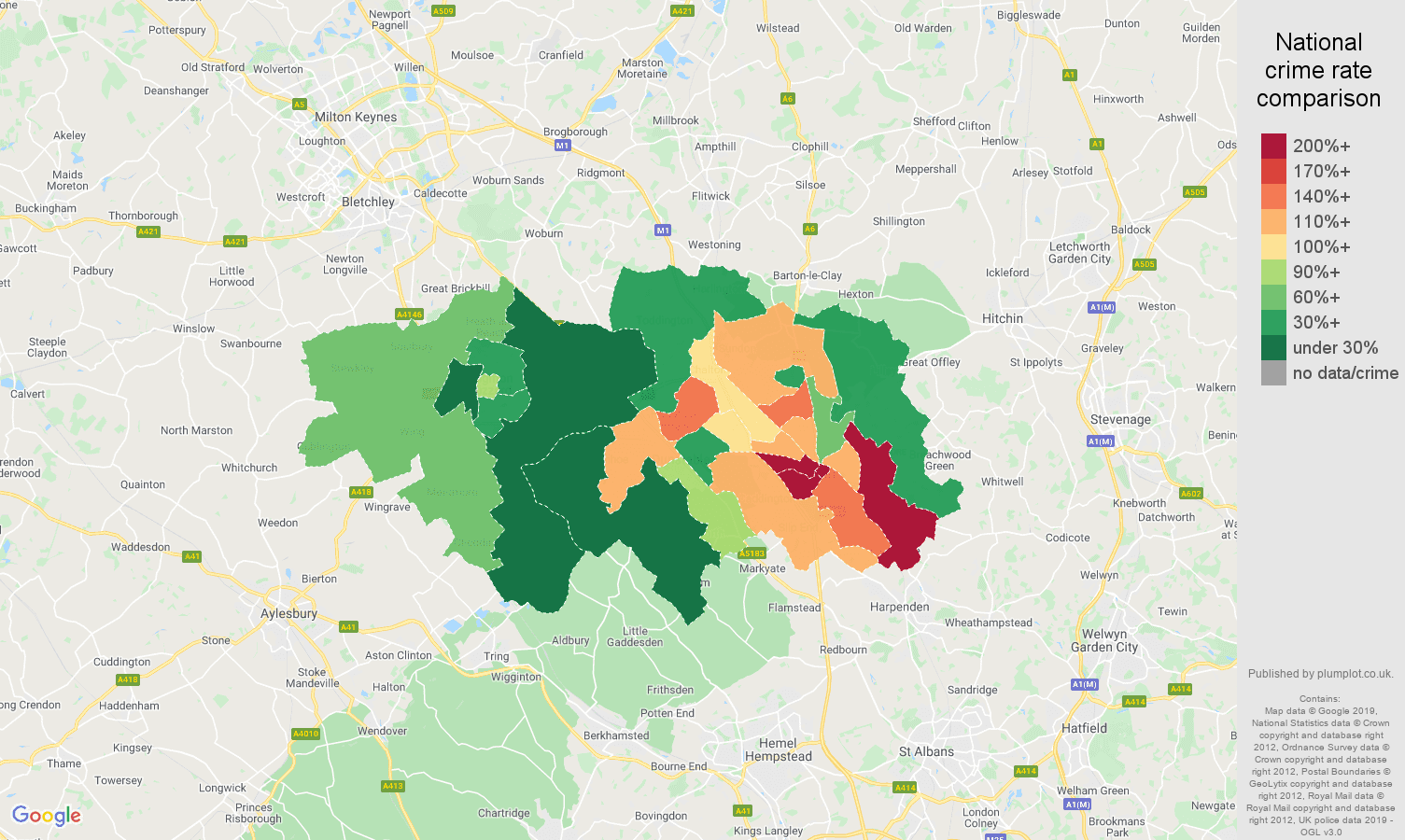 Luton possession of weapons crime rate comparison map
