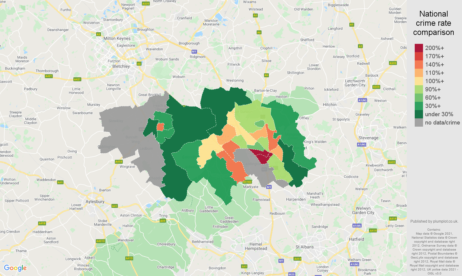 Luton robbery crime rate comparison map