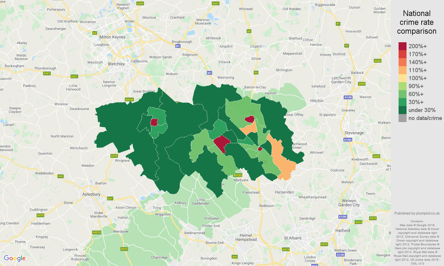 Luton shoplifting crime rate comparison map