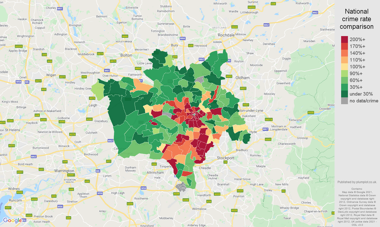 Manchester bicycle theft crime rate comparison map