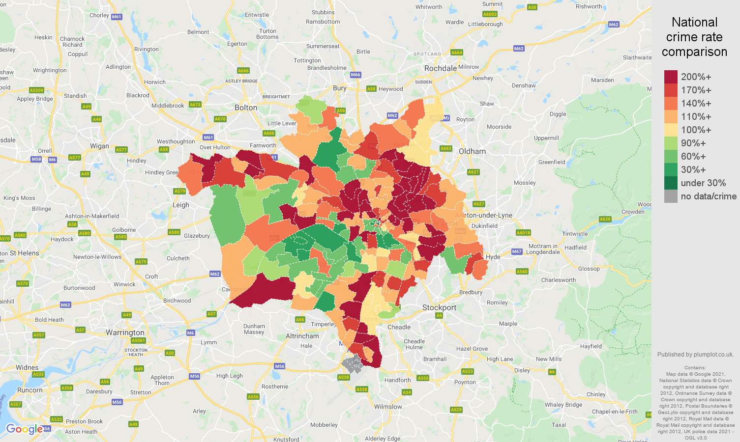 Manchester criminal damage and arson crime rate comparison map