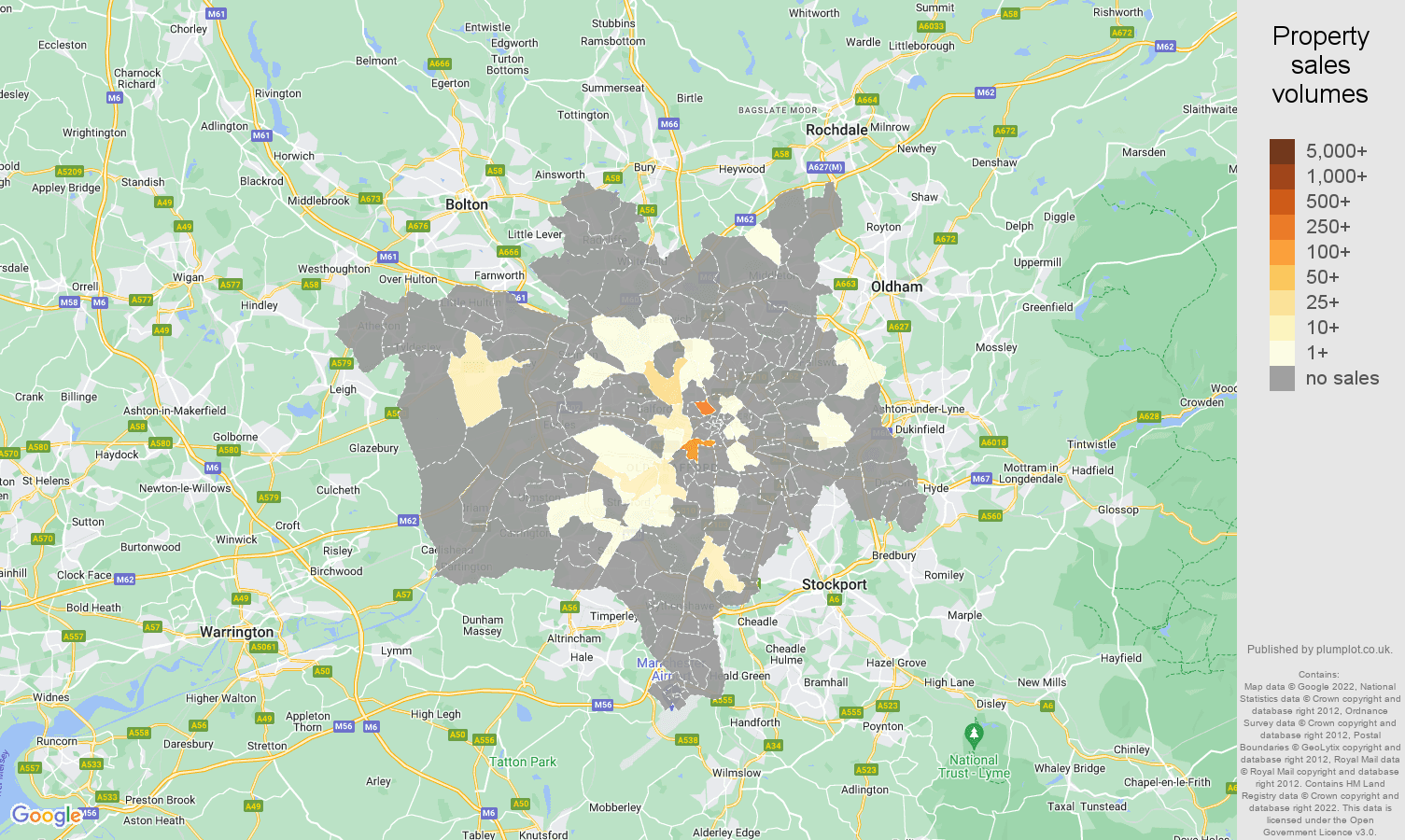Manchester map of sales of new properties