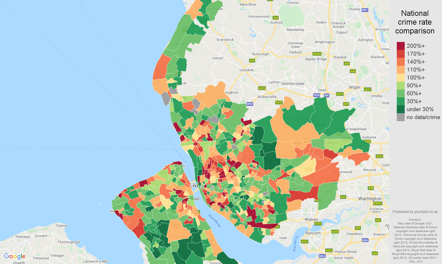 Merseyside antisocial behaviour crime rate comparison map