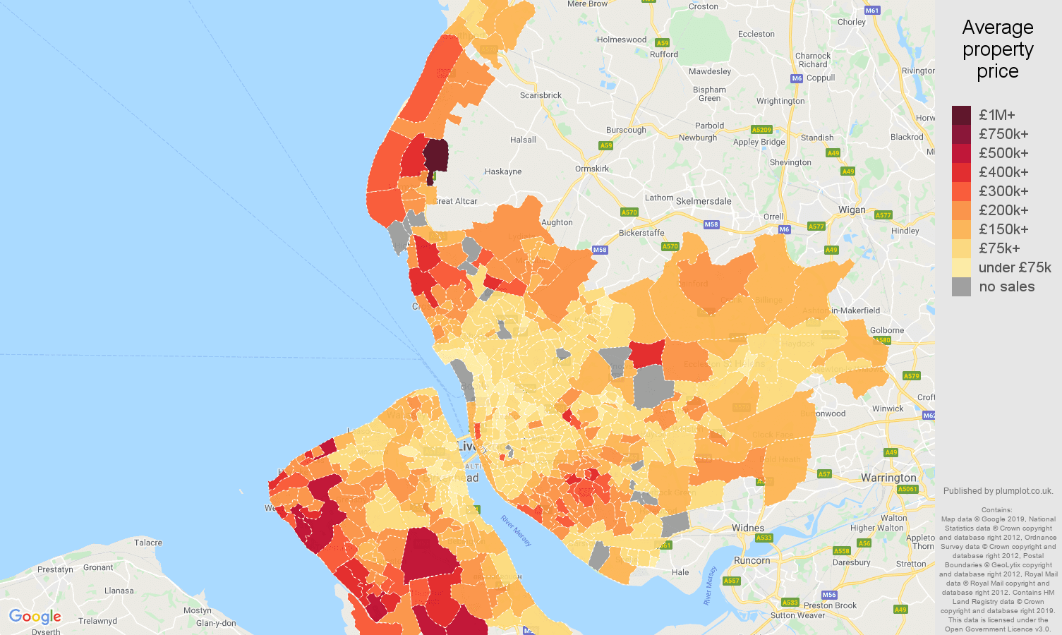 Merseyside house prices map