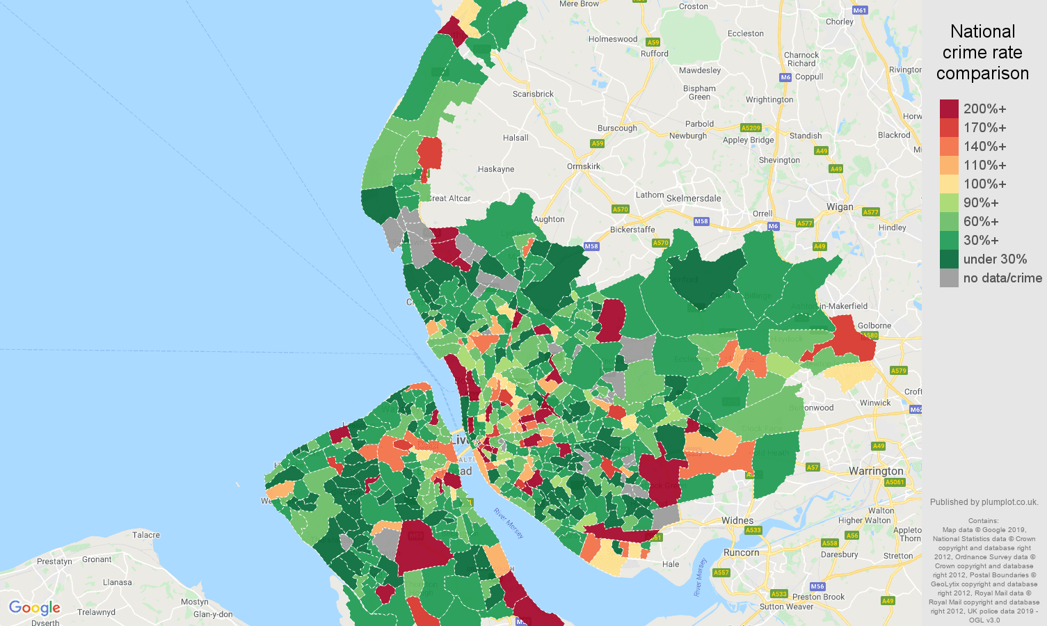 Merseyside other theft crime rate comparison map
