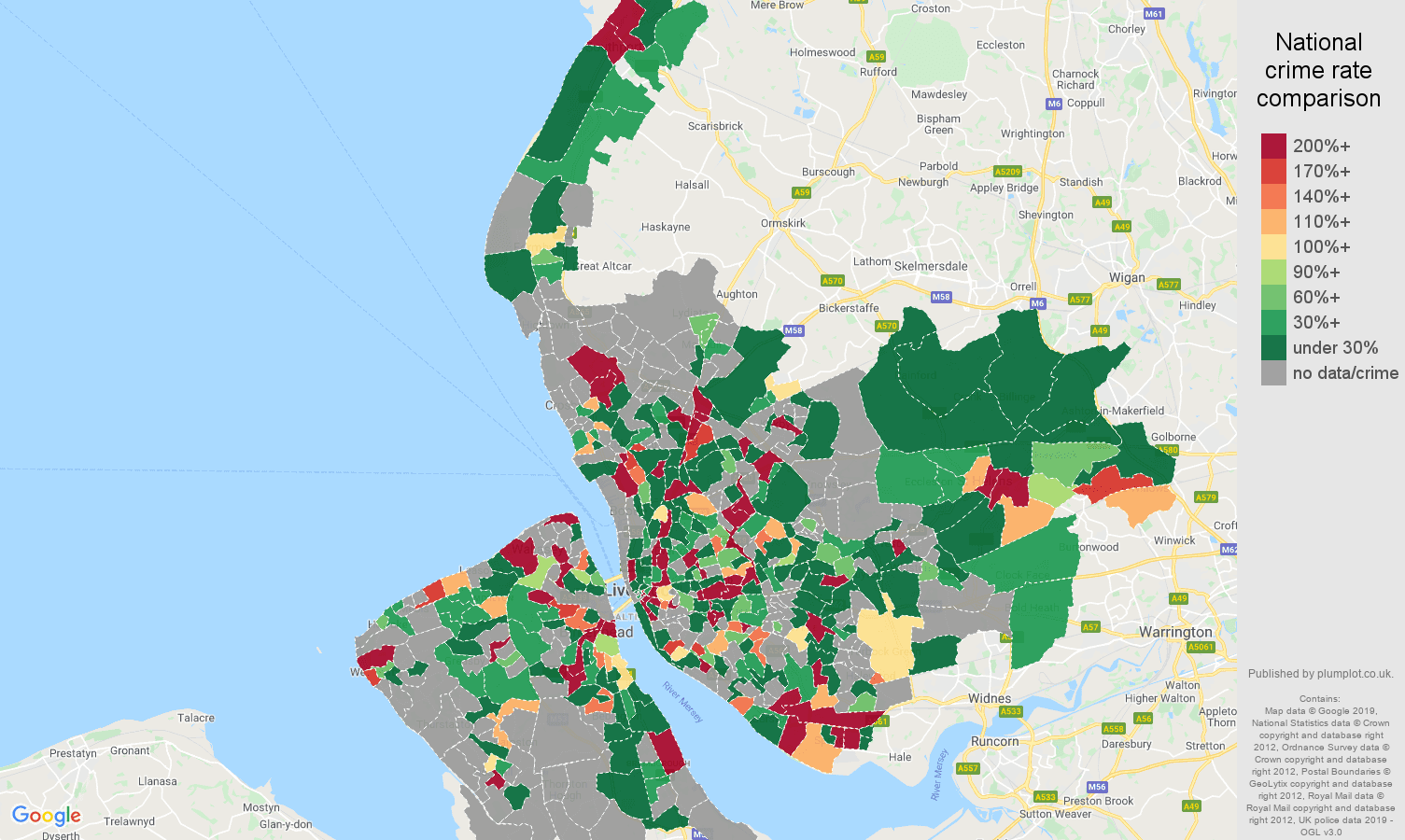 Merseyside shoplifting crime rate comparison map