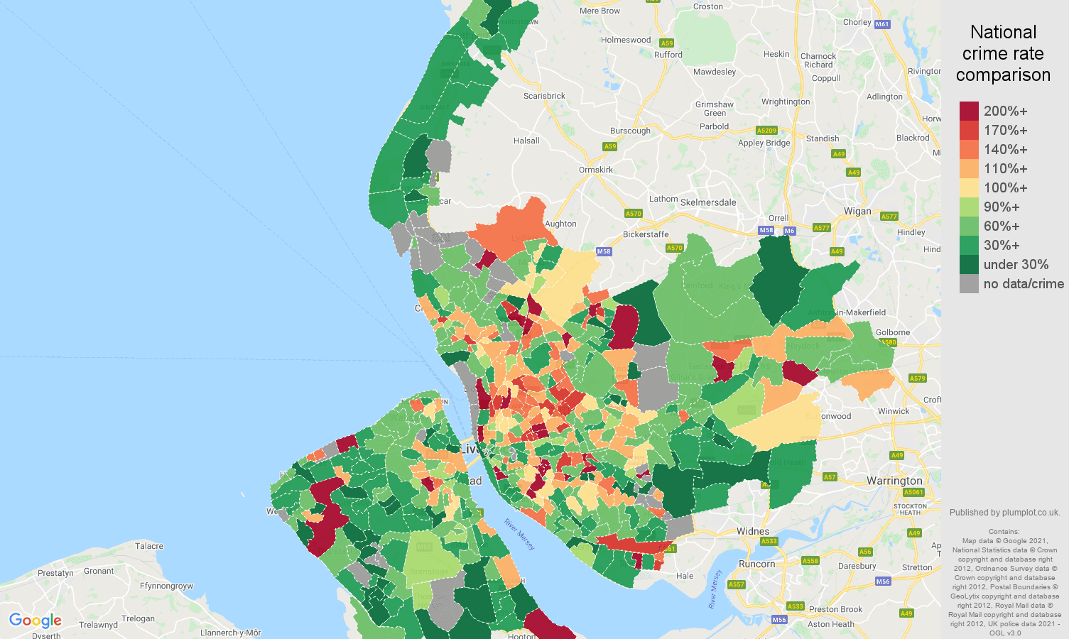 Merseyside vehicle crime rate comparison map