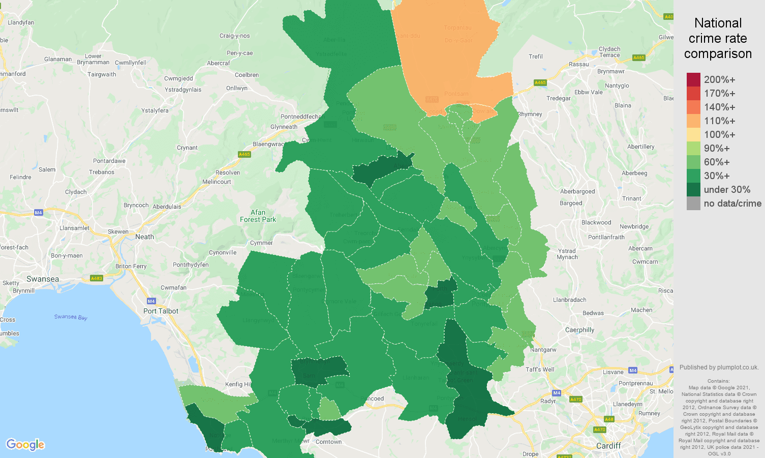 Mid Glamorgan vehicle crime rate comparison map