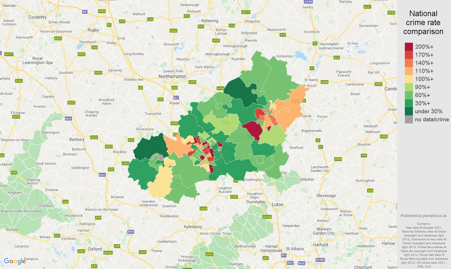 Milton Keynes criminal damage and arson crime rate comparison map