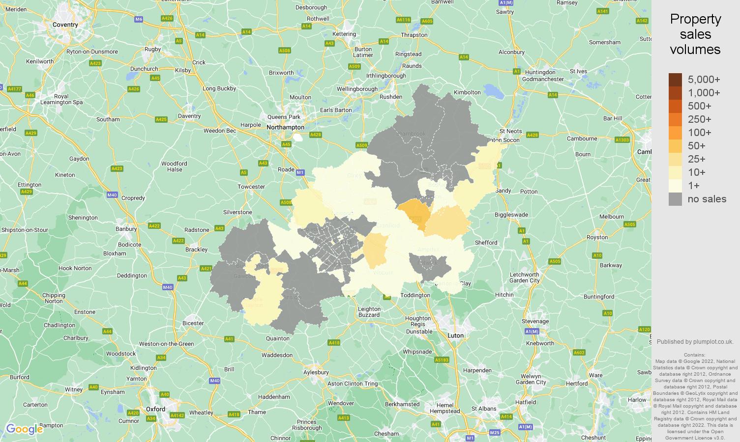 Milton Keynes map of sales of new properties