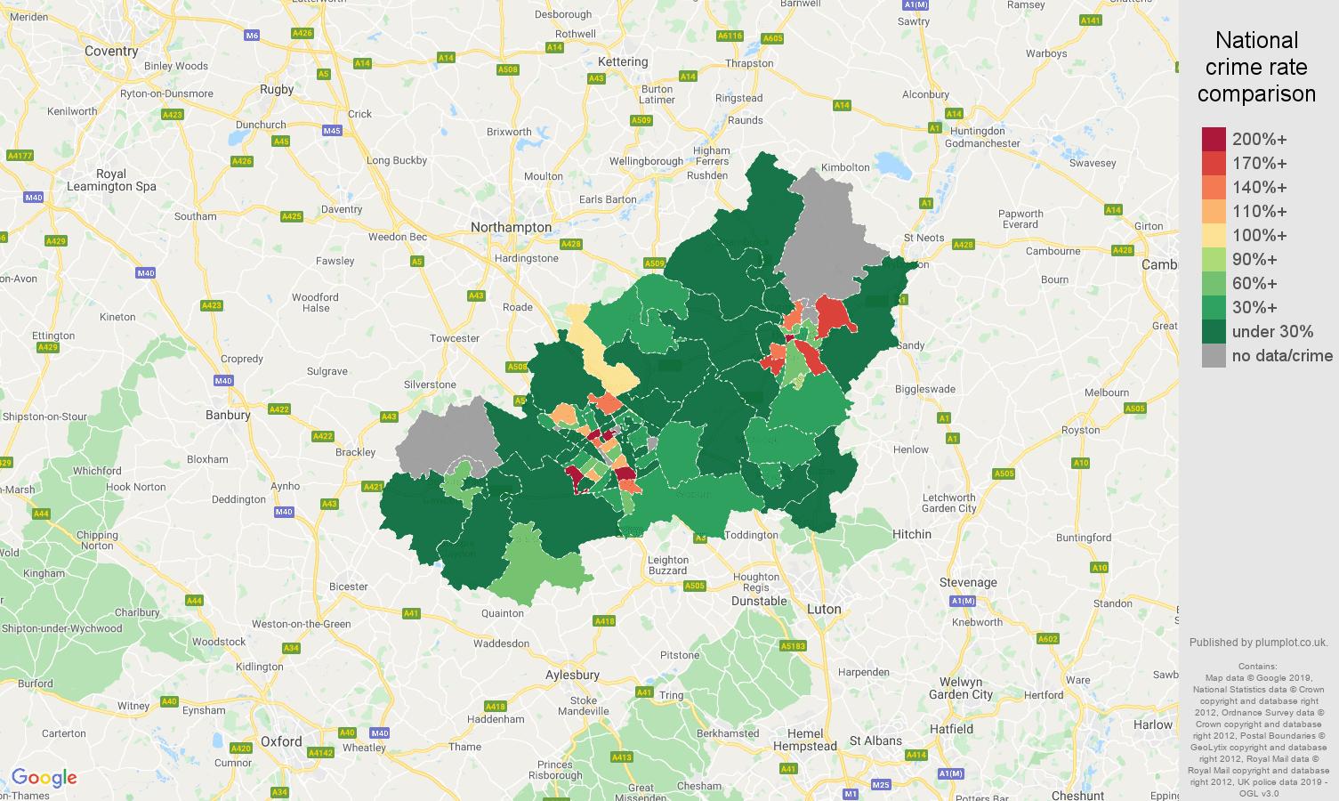 Milton Keynes shoplifting crime rate comparison map