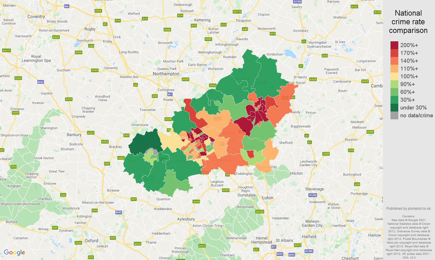 Milton Keynes vehicle crime rate comparison map