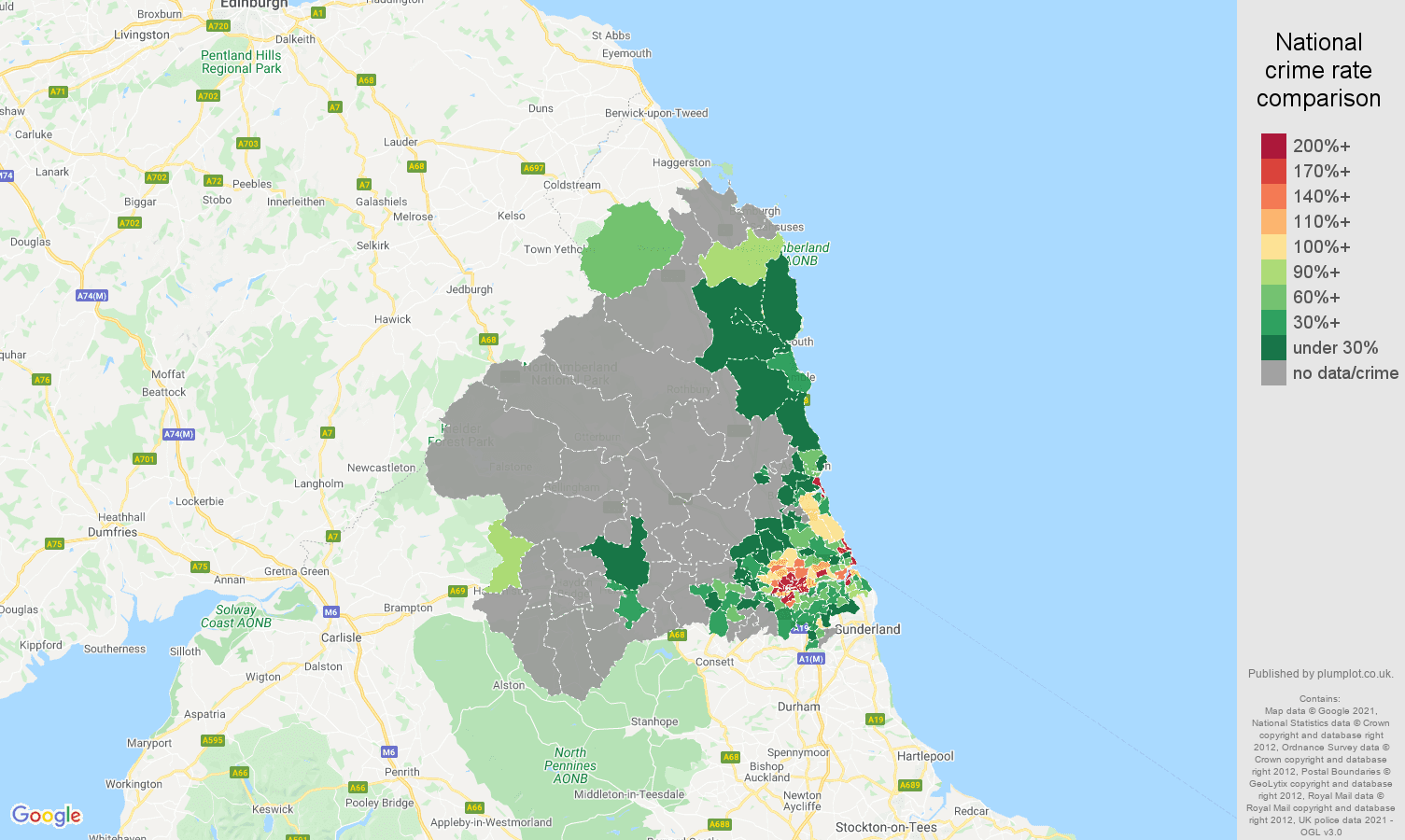Newcastle upon Tyne bicycle theft crime rate comparison map