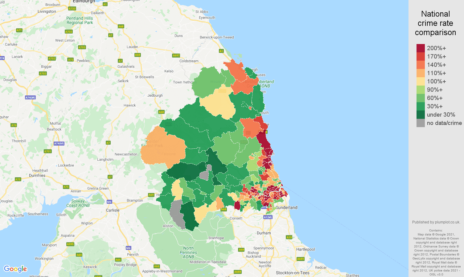 Newcastle upon Tyne criminal damage and arson crime rate comparison map
