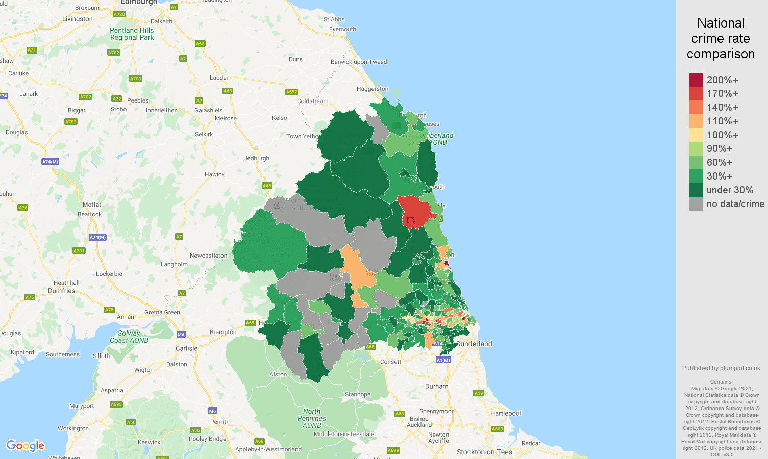 Newcastle upon Tyne drugs crime rate comparison map