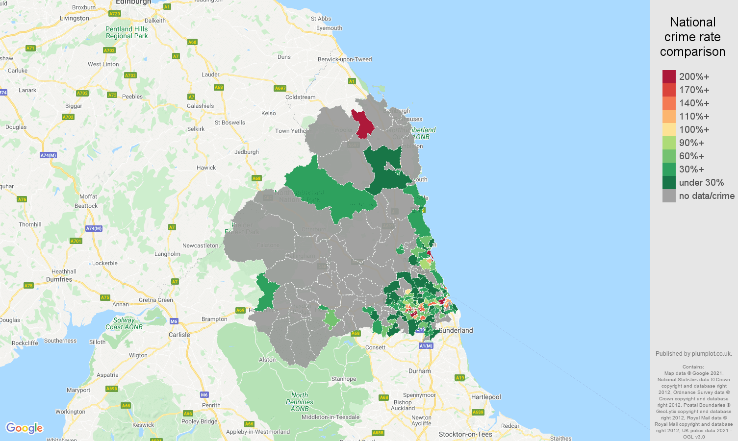 Newcastle upon Tyne theft from the person crime rate comparison map