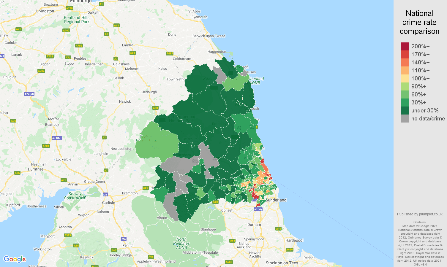 Newcastle upon Tyne vehicle crime rate comparison map