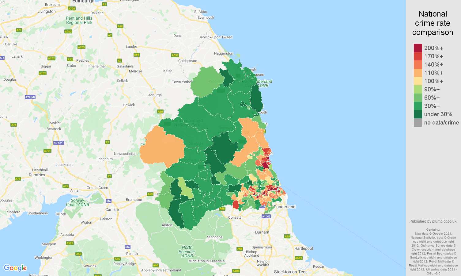 Newcastle upon Tyne violent crime rate comparison map