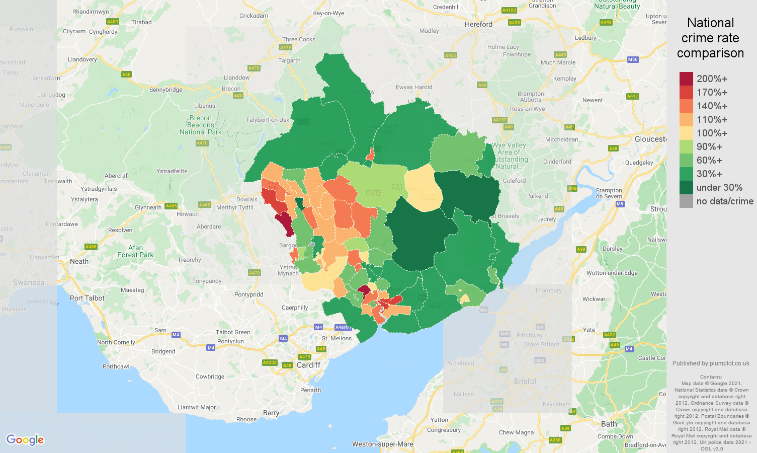 Newport violent crime rate comparison map