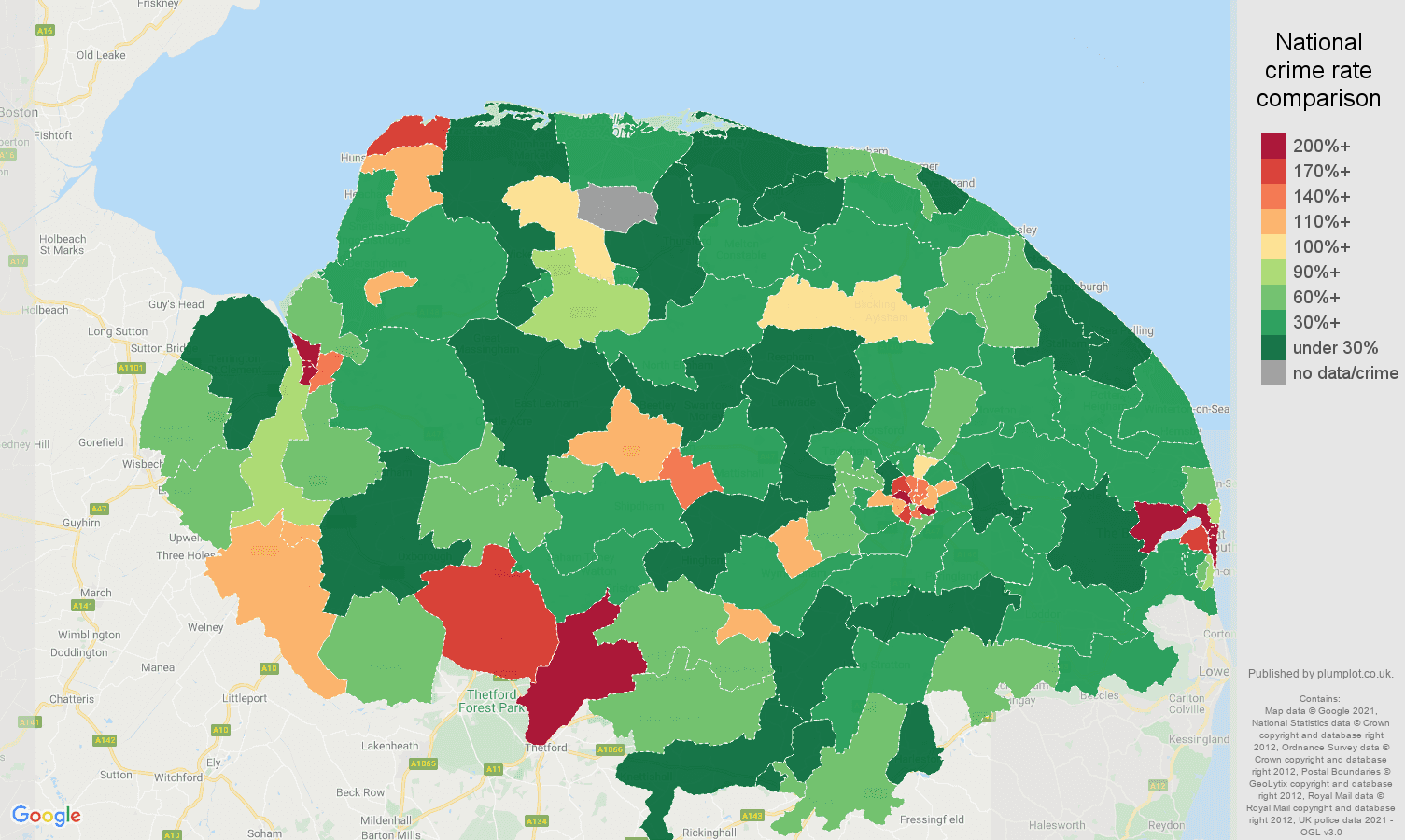 Norfolk drugs crime rate comparison map