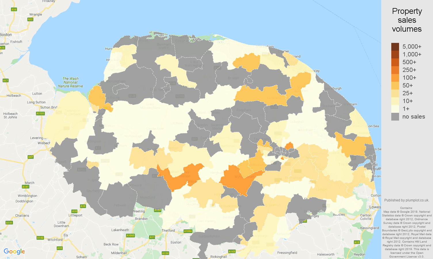 Norfolk map of sales of new properties