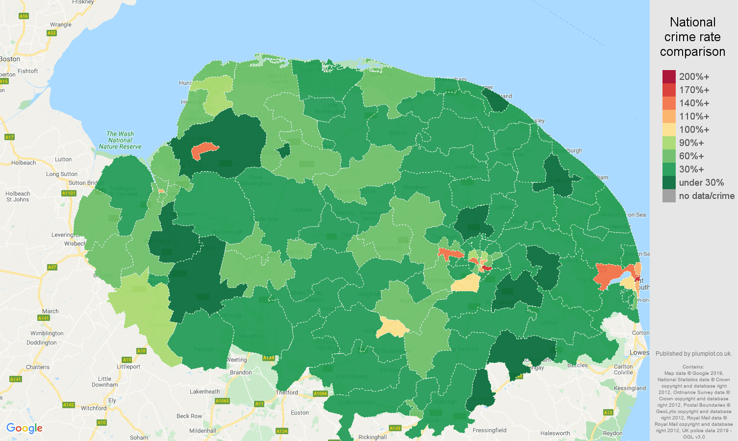Norfolk other theft crime rate comparison map