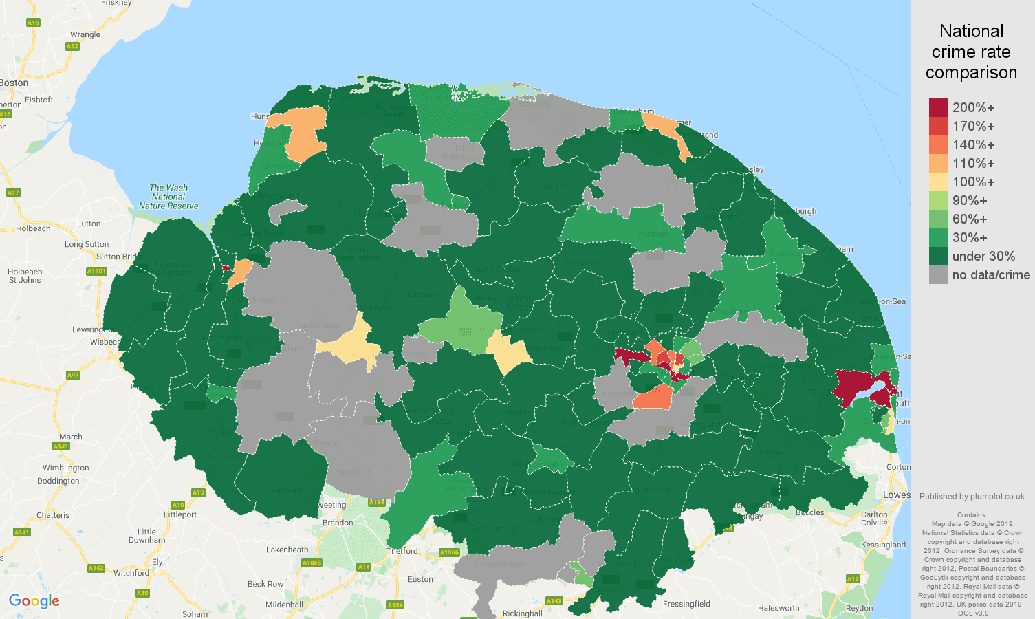 Norfolk shoplifting crime rate comparison map