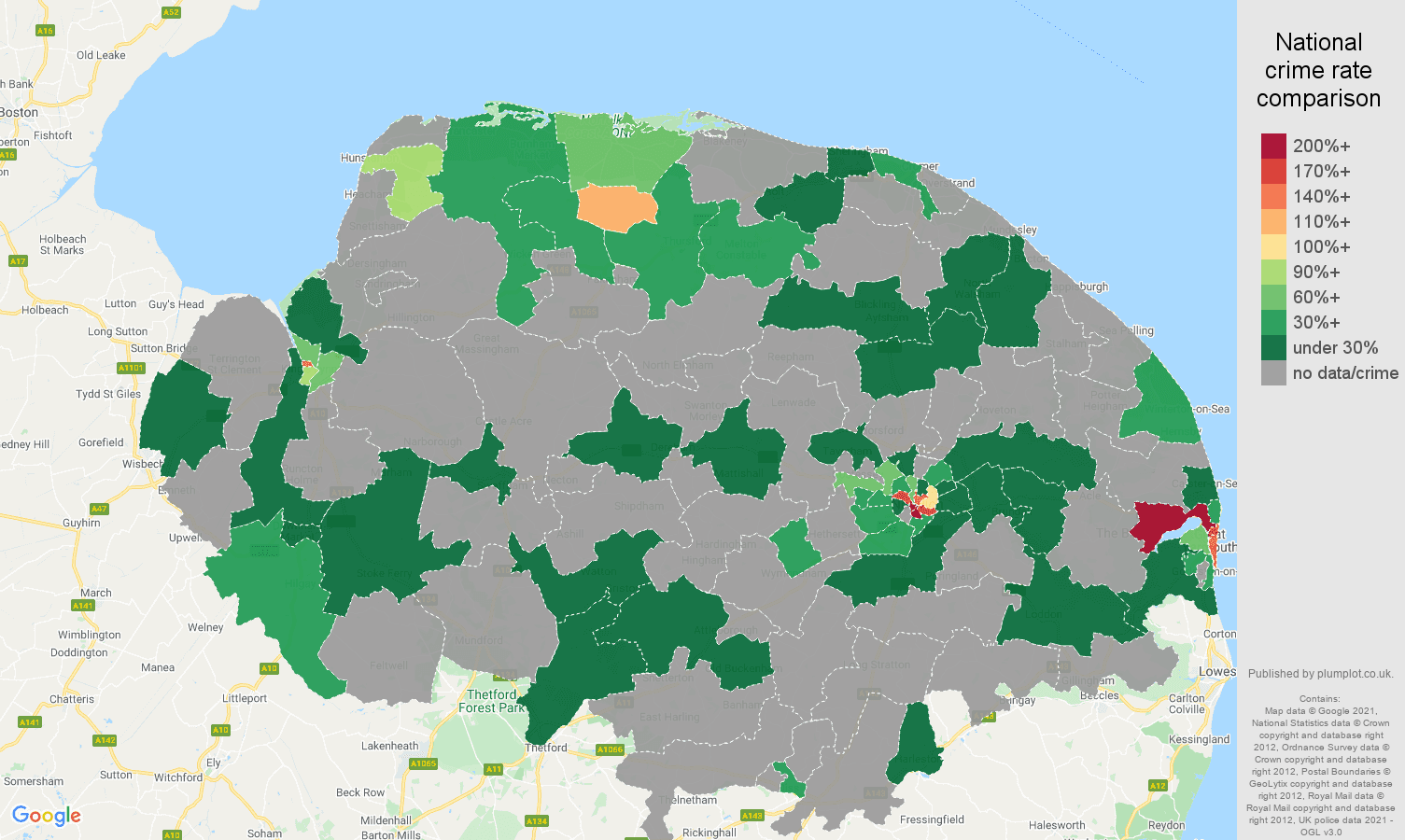 Norfolk theft from the person crime rate comparison map