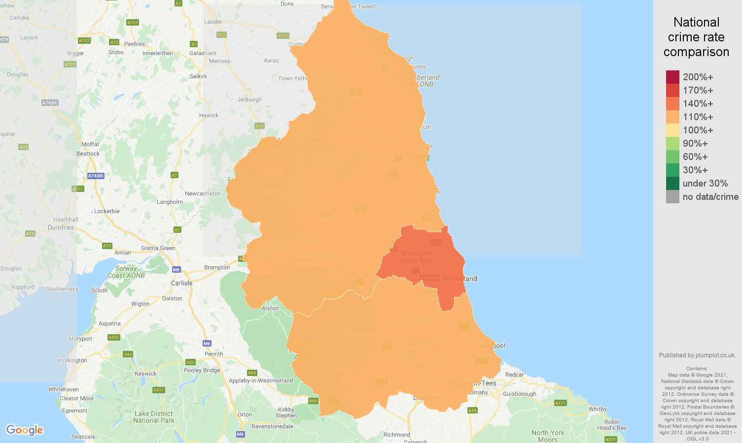 North East antisocial behaviour crime rate comparison map