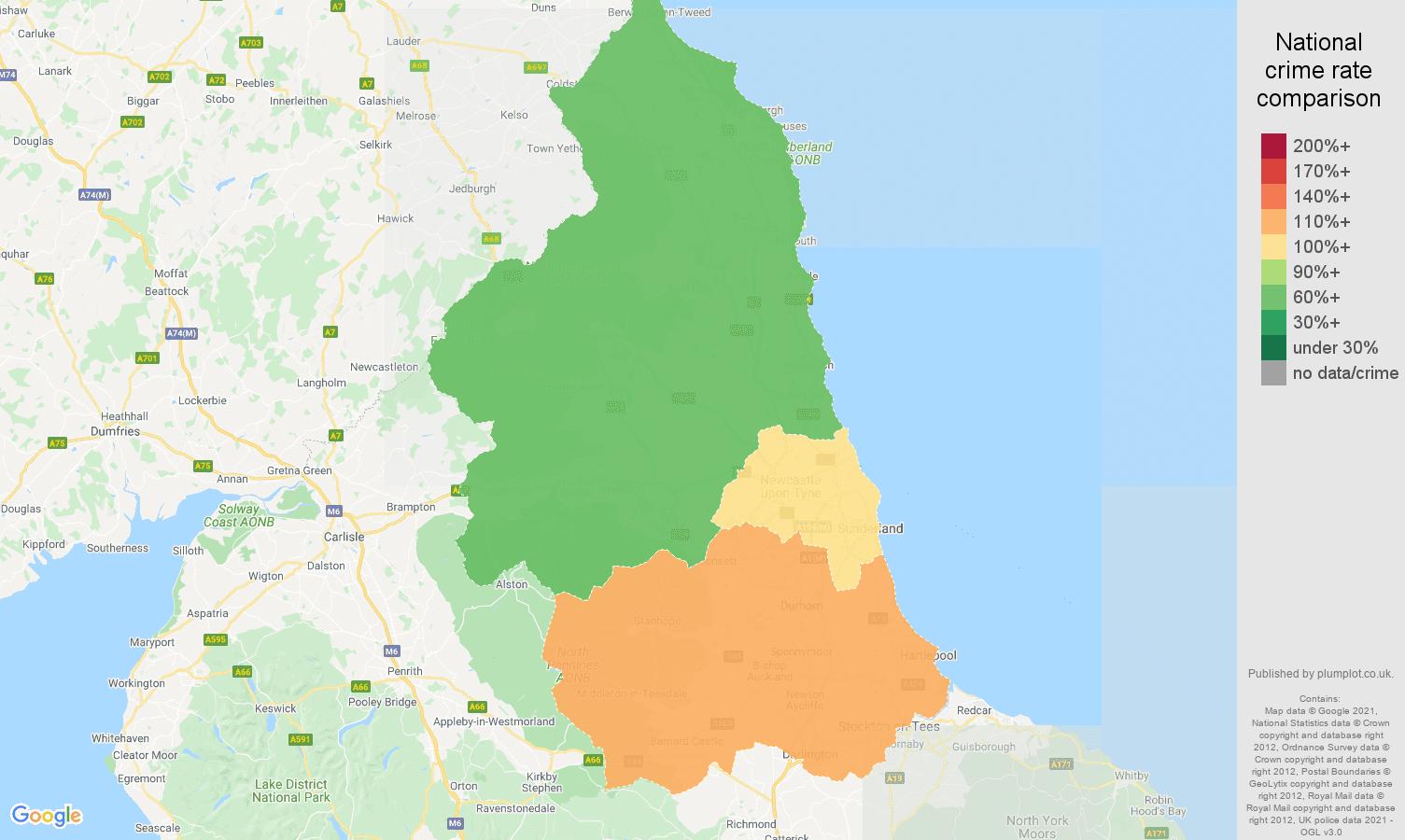 North East burglary crime rate comparison map