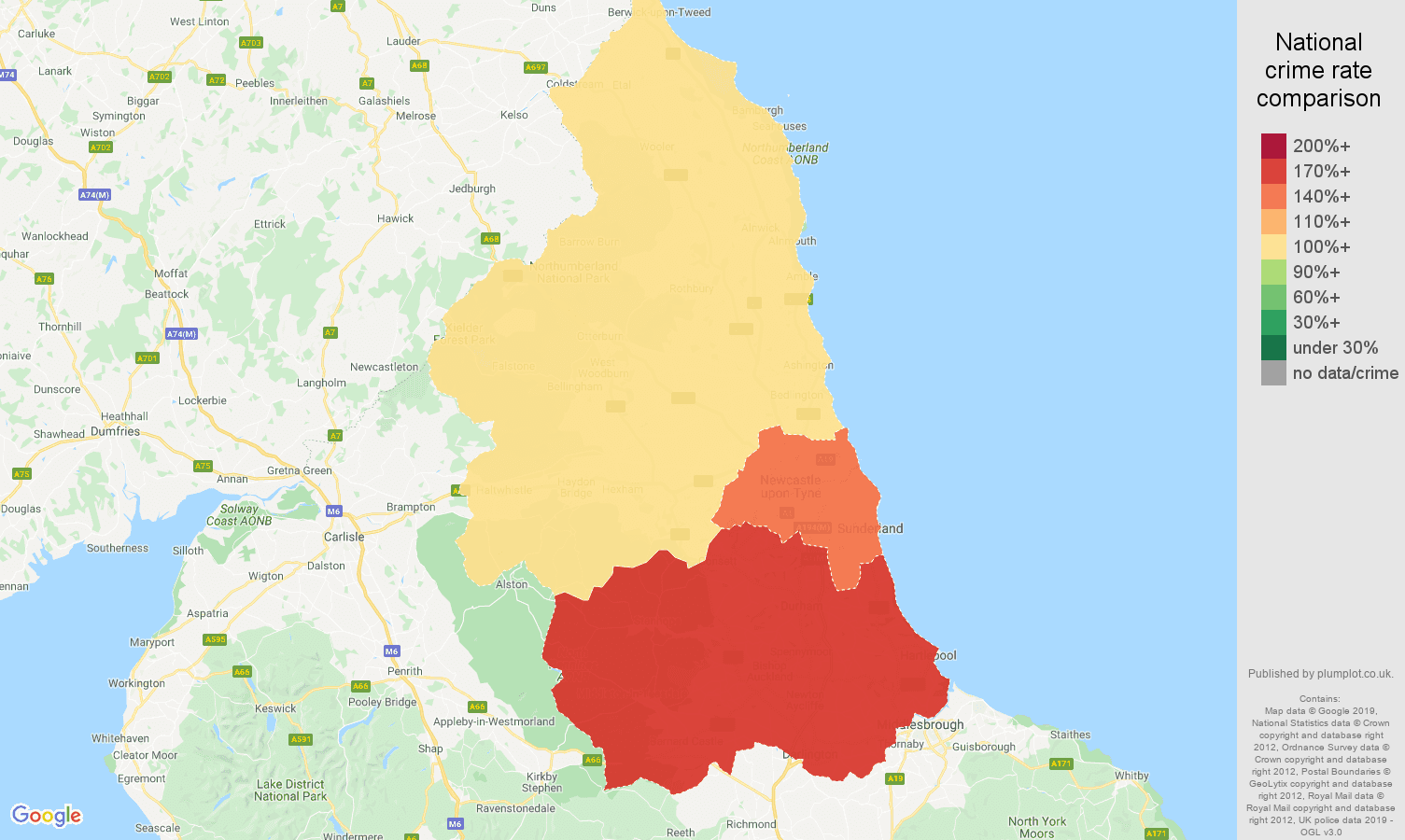North East shoplifting crime rate comparison map