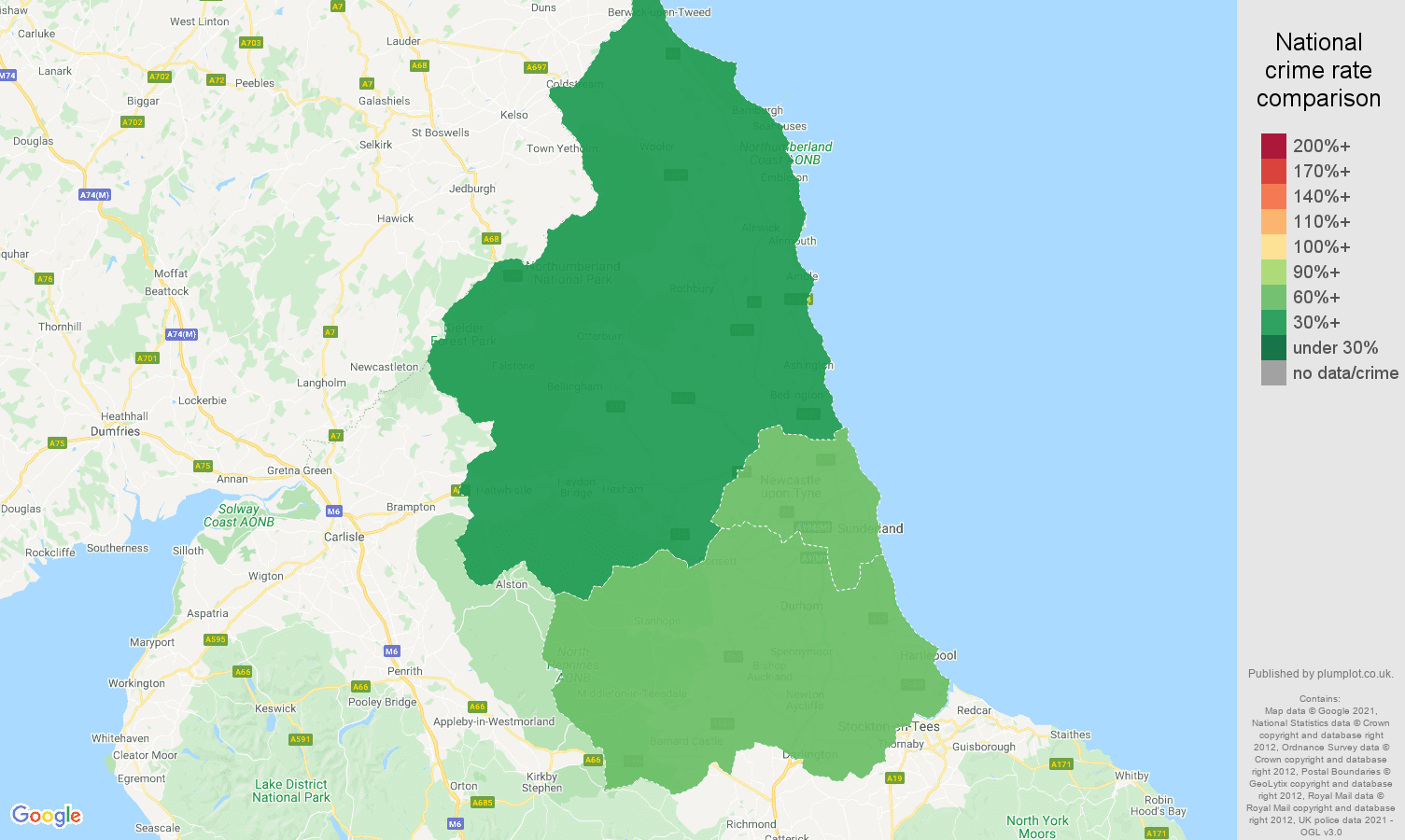 North East theft from the person crime rate comparison map