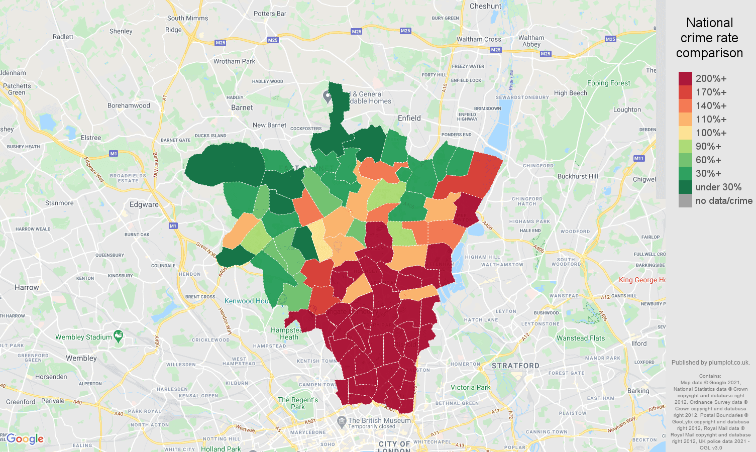 North London bicycle theft crime rate comparison map