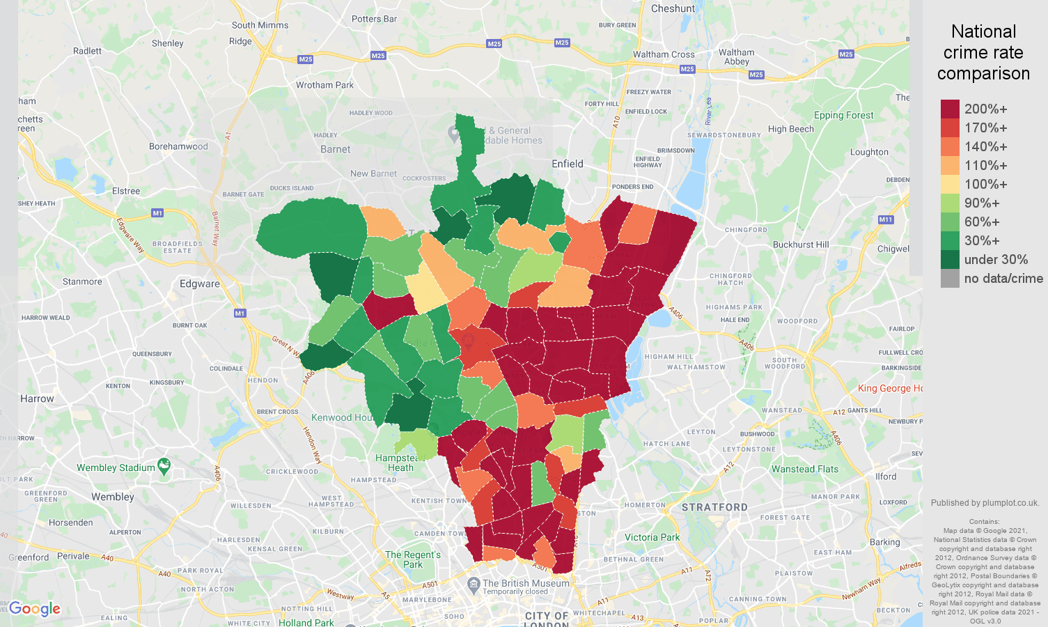 North London drugs crime rate comparison map