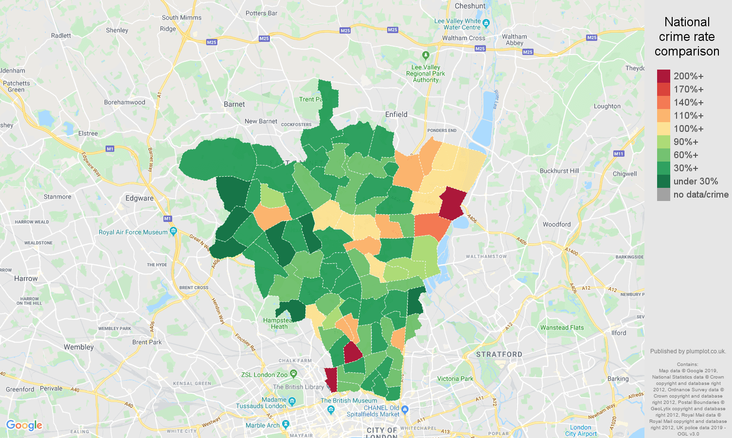 North London other crime rate comparison map