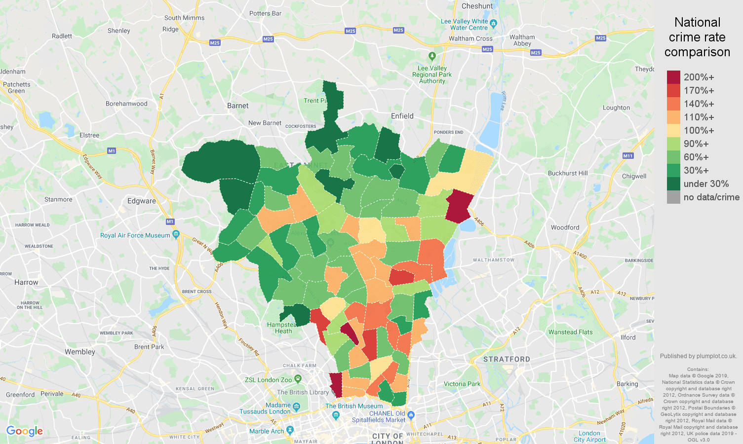 North London public order crime rate comparison map