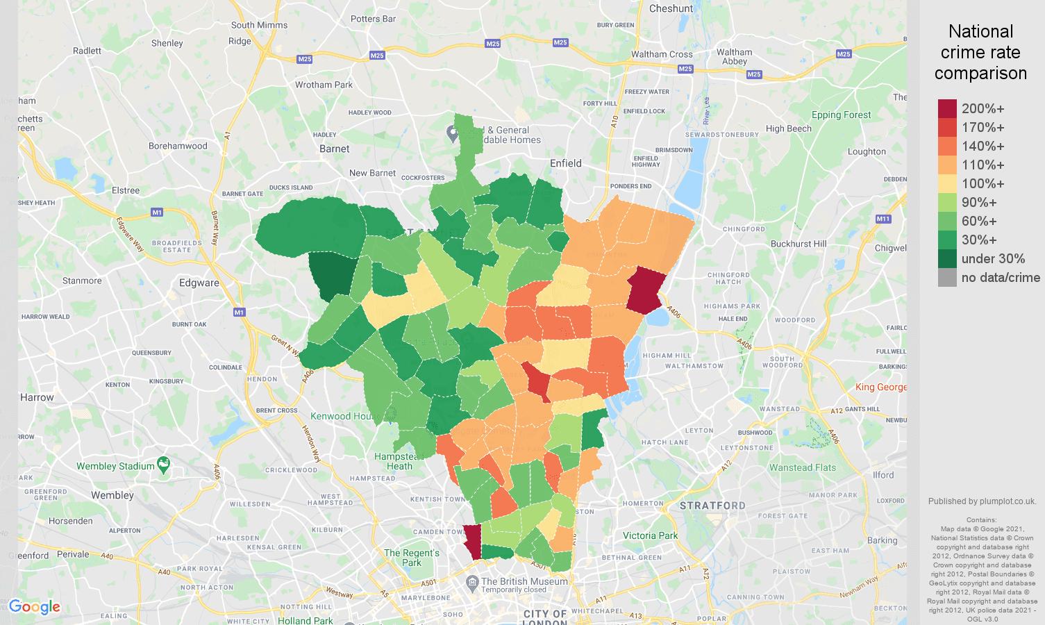 North London violent crime rate comparison map