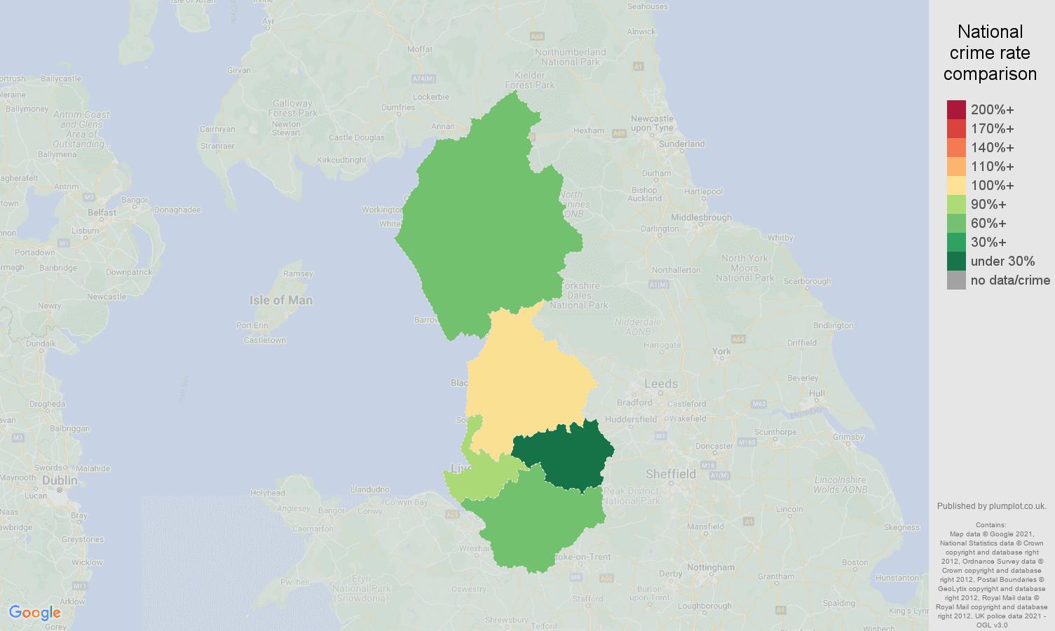 North West burglary crime rate comparison map