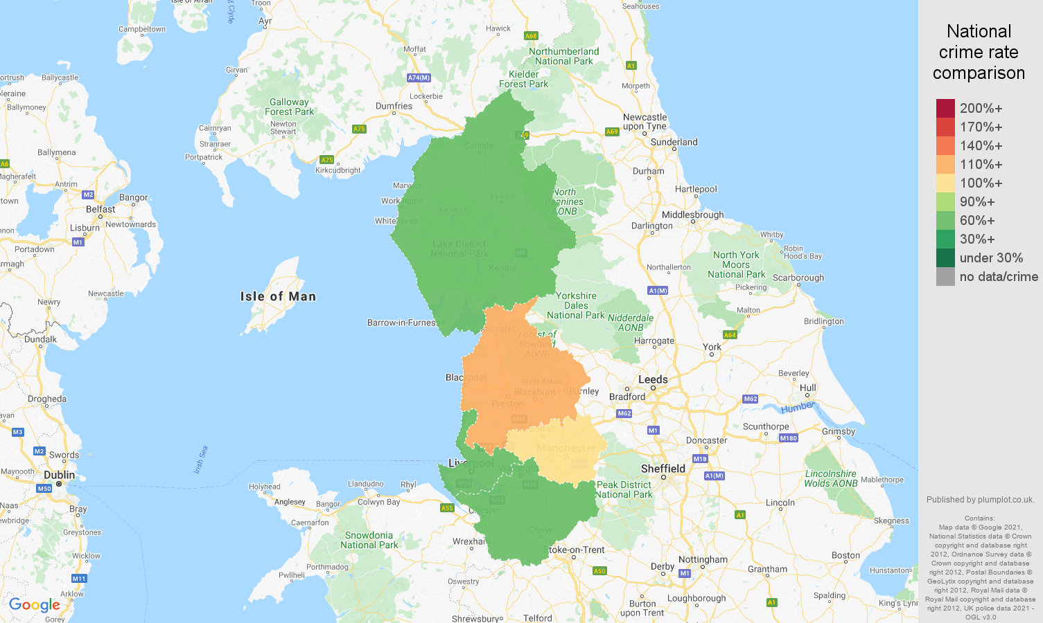 North West other theft crime rate comparison map