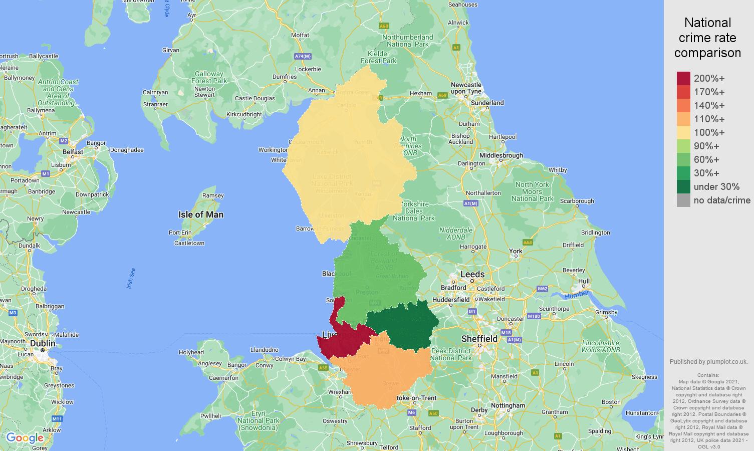 North West public order crime rate comparison map