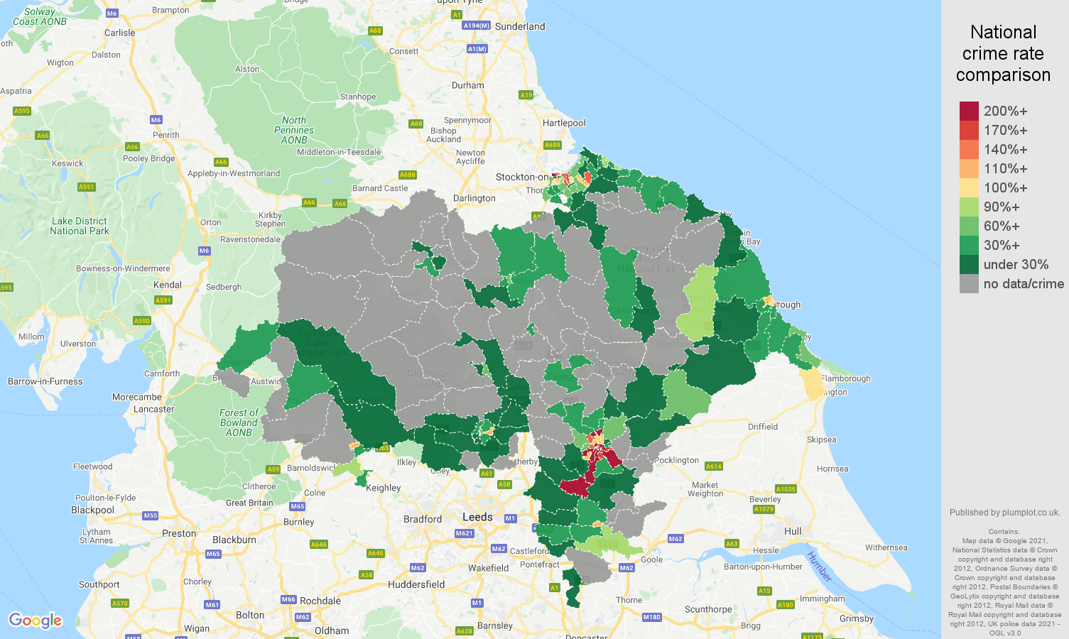 North Yorkshire bicycle theft crime rate comparison map