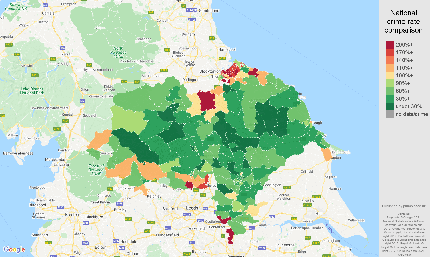 North Yorkshire burglary crime rate comparison map
