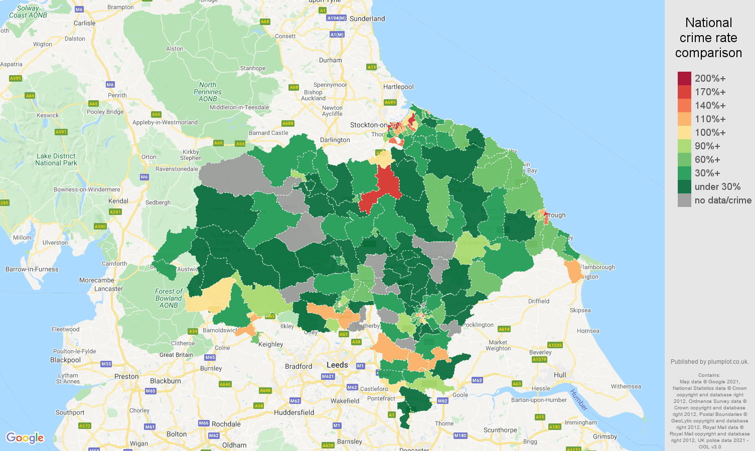 North Yorkshire drugs crime rate comparison map