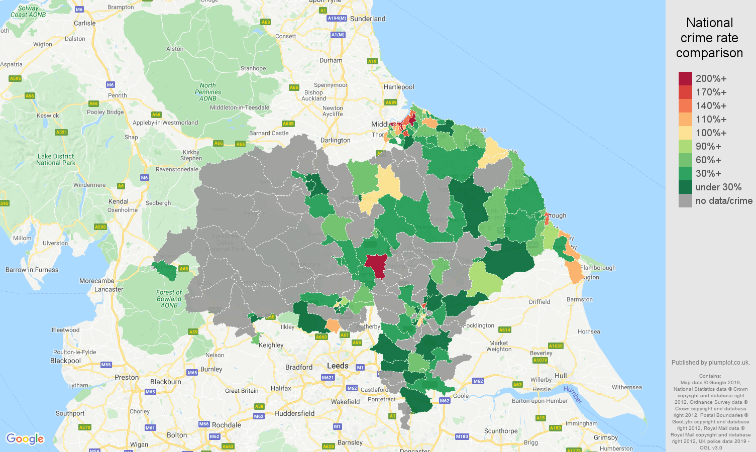 North Yorkshire possession of weapons crime rate comparison map