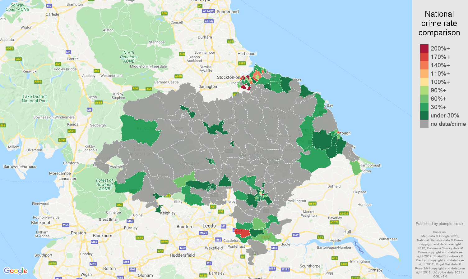 North Yorkshire robbery crime rate comparison map